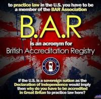 The British Crown runs the U.S. legal system  Bar